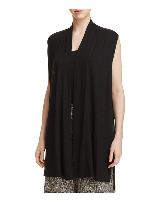 Eileen Fisher | Black Drape Front Long Vest | Lyst