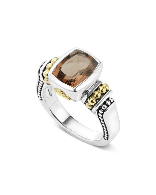 Lagos | Metallic 18k Gold And Sterling Silver Caviar Color Small Smoky Quartz Ring | Lyst
