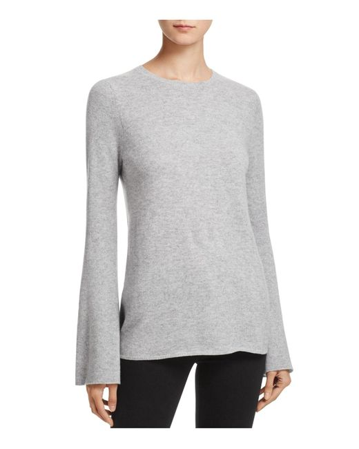 Aqua | Gray Cashmere Bell-sleeve Crewneck Sweater | Lyst