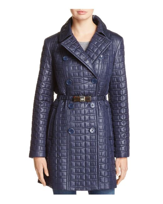 Kate Spade | Blue Bow Quilted Trenchcoat | Lyst