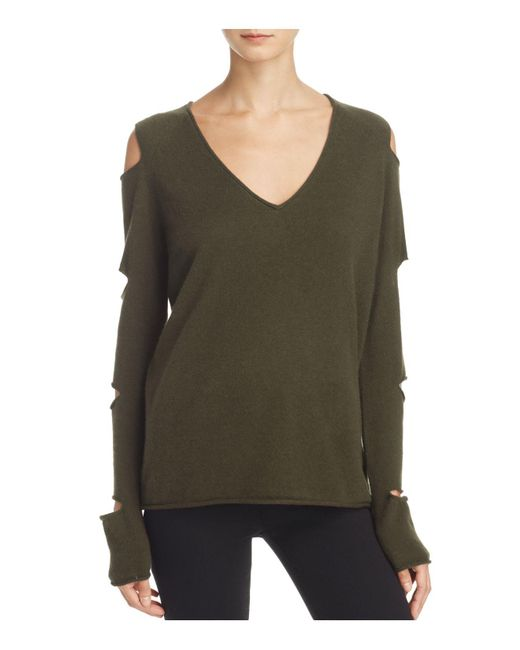 Aqua | Green Cashmere V-neck Slash-arm Sweater | Lyst