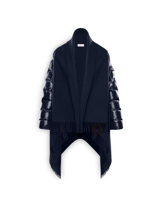Moncler | Blue Mixed Media Down Cape | Lyst