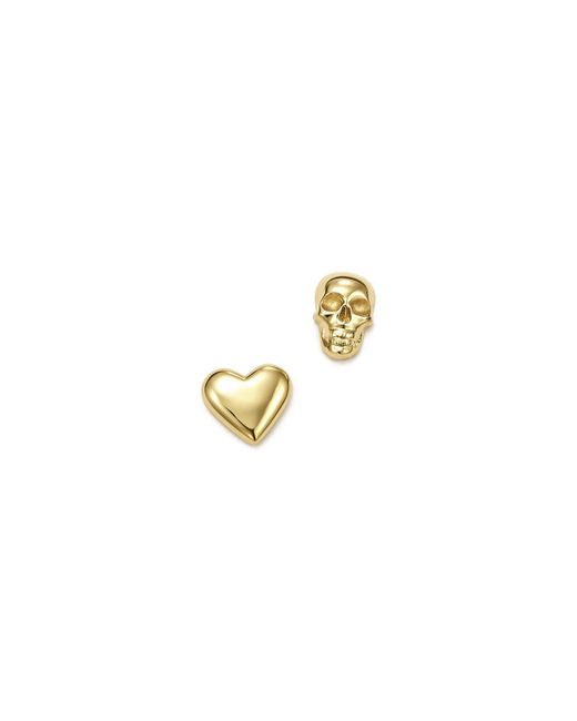 ICONERY | Metallic X Michelle Branch 14k Yellow Gold Skull And Heart Mixed Stud Earrings | Lyst