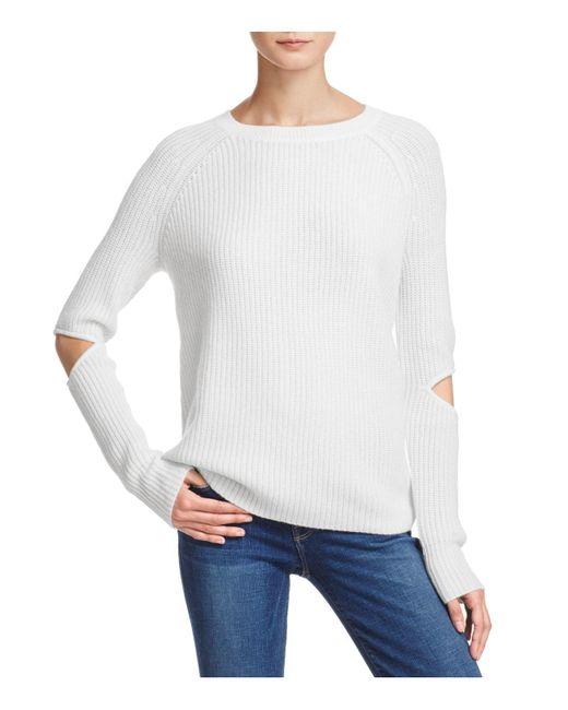 Aqua | White Cashmere Slash-elbow Sweater | Lyst