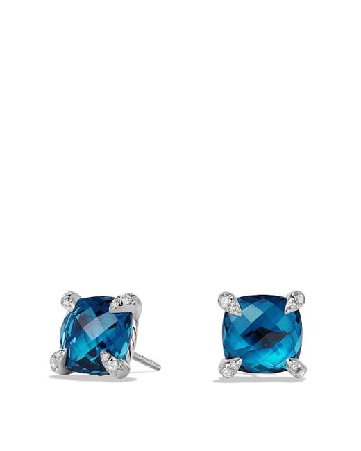 David Yurman | Metallic Châtelaine Earrings With Hampton Blue Topaz And Diamonds | Lyst