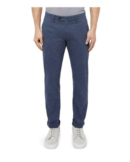 Ted Baker   Blue Slim Fit Textured Trousers for Men   Lyst