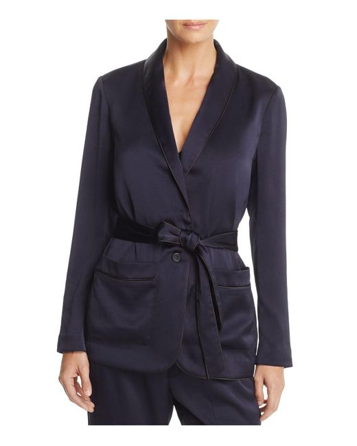 Joie | Blue Soft Anasophia Belted Piped Blazer | Lyst