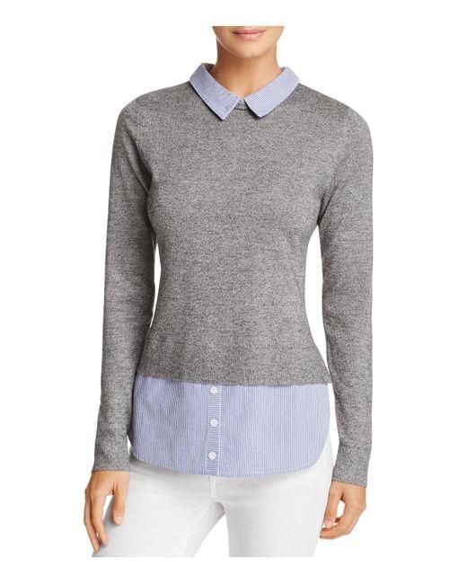 Aqua | Gray Layered-look Collared Sweater | Lyst