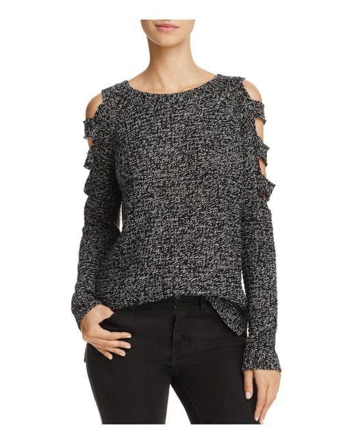 Aqua   Black Slit Cold-shoulder Sweater   Lyst