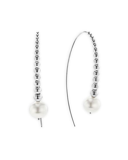 Lagos   Metallic Sterling Silver Signature Caviar Cultured Freshwater Pearl Linear Drop Earrings   Lyst