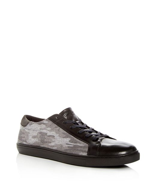 Kenneth Cole   Gray Men's Kam Leather & Camo Lace Up Sneakers for Men   Lyst