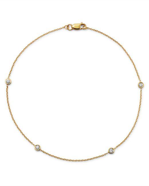 Bloomingdale's - Metallic Diamond Bezel Ankle Bracelet In 14k Yellow Gold, .20 Ct. T.w. - Lyst