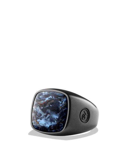 David Yurman | Blue Exotic Stone Ring With Pietersite In Black Titanium | Lyst