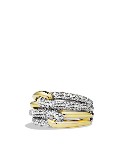 David Yurman | Metallic Labyrinth Double-loop Ring With Diamonds & Gold | Lyst