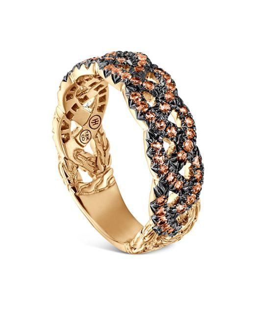 John Hardy - Metallic 18k Yellow Gold Braided Chain Ring With Orange Sapphire - Lyst