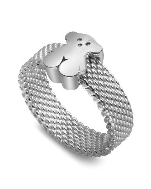Tous - Metallic Sterling Silver Small Mesh Ring - Lyst