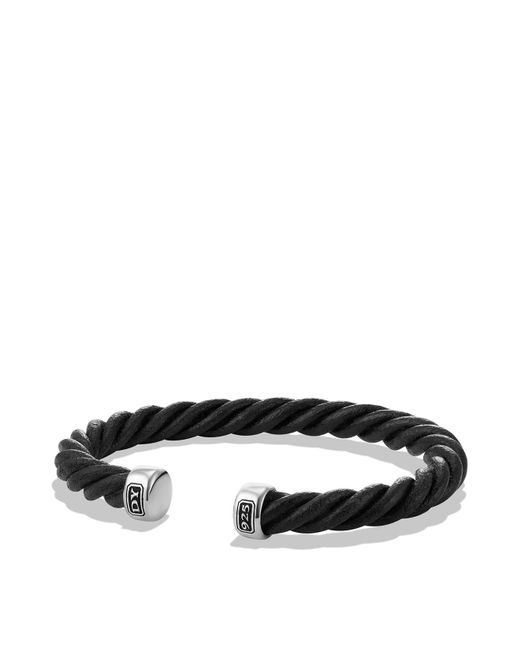 David Yurman - Cable Classics Leather Cuff Bracelet In Black - Lyst