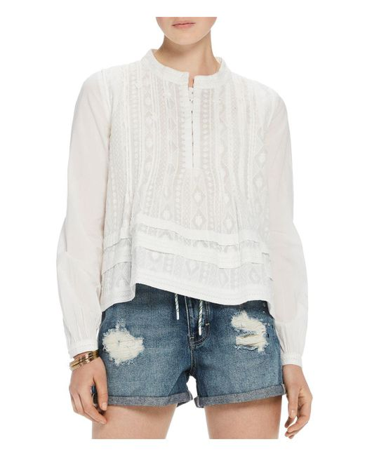 Scotch & Soda - White Embroidered Cotton Top - Lyst
