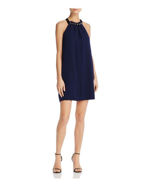 BCBGMAXAZRIA - Blue Embellished-neck Shift Dress - Lyst