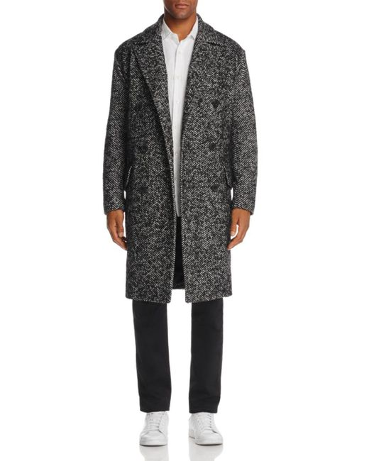 Theory - Black Oversized & Double-breasted Herringbone Coat for Men - Lyst