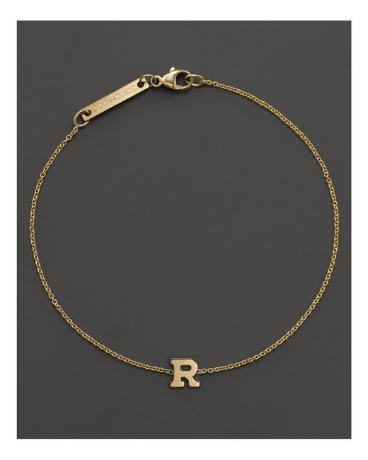 Zoe Chicco   14k Yellow Gold Initial Bracelet   Lyst