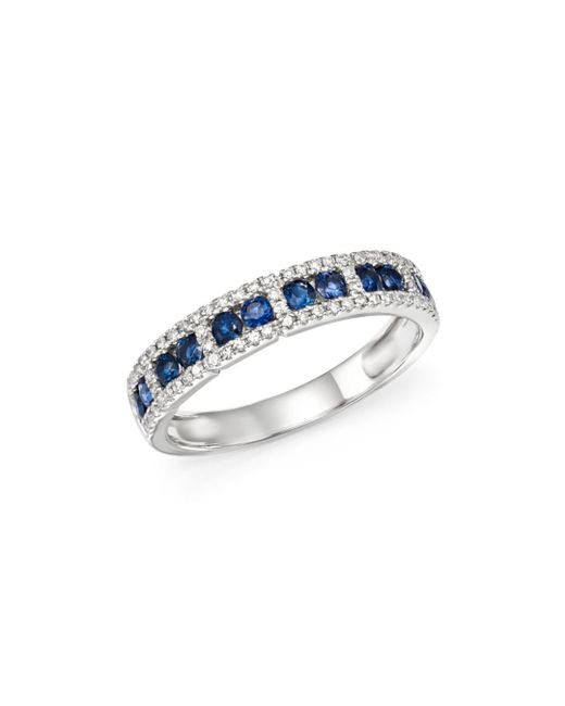 KC Designs - Multicolor 14k White Gold Diamond & Sapphire Stacking Ring - Lyst