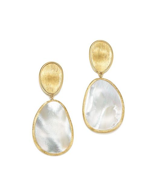 Marco Bicego - Metallic 18k Yellow Gold Lunaria Mother Of Pearl Two Drop Earrings - Lyst