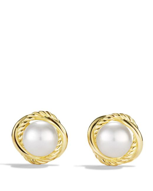 David Yurman - Metallic Infinity Earrings With Pearls In Gold - Lyst