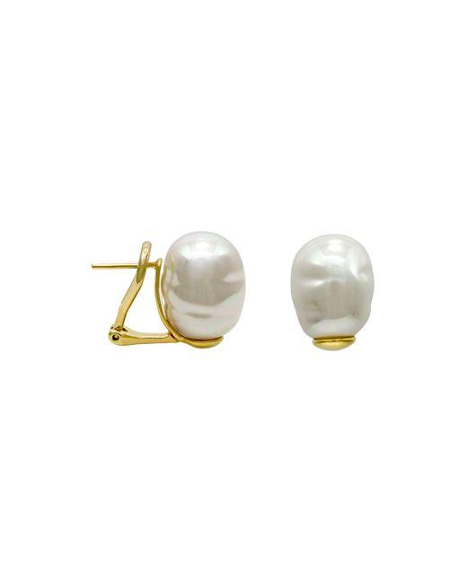 Majorica   White Simulated Baroque Pearl Stud Earrings   Lyst