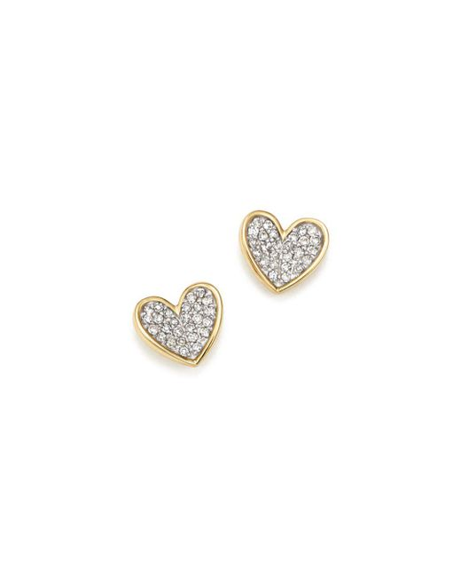 Adina Reyter - Metallic 14k Yellow Gold Tiny Pavé Diamond Folded Heart Stud Earrings - Lyst