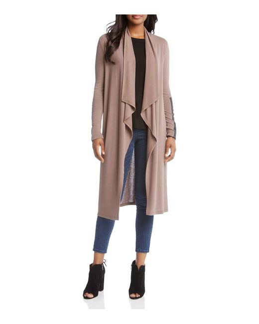 Karen Kane | Multicolor Faux Leather Trimmed Duster Cardigan | Lyst