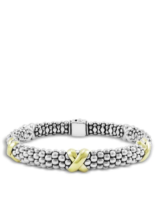 Lagos - Metallic 18k Yellow Gold And Sterling Silver Caviar Bracelet - Lyst