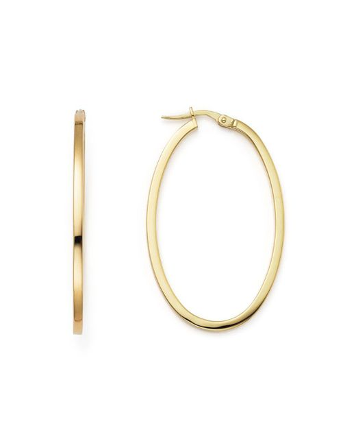 Roberto Coin - Metallic 18k Yellow Gold Oval Hoop Earrings - Lyst