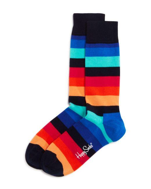 Happy Socks - Blue Striped Socks for Men - Lyst