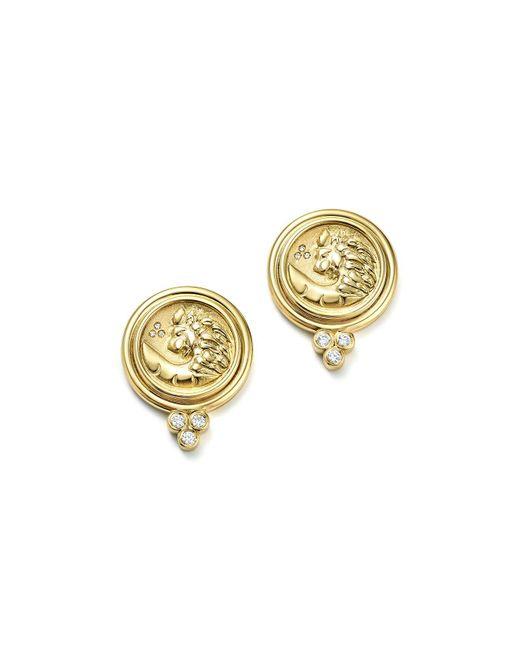 Temple St. Clair | Metallic 18k Yellow Gold Lion Coin Diamond Earrings | Lyst