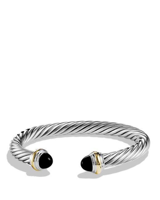 David Yurman - Metallic Cable Classics Bracelet With Black Onyx & Gold - Lyst