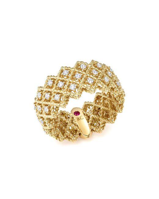 Roberto Coin - Metallic 18k Yellow Gold New Barocco Three Row Diamond Ring - Lyst