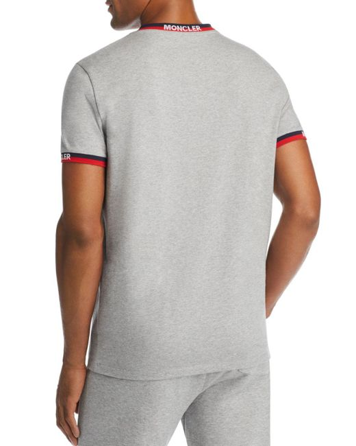 9284eee80 Lyst - Moncler Maglia Stripe-trimmed Tee in Gray for Men