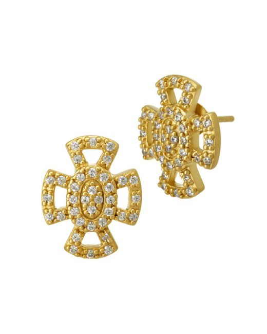 Freida Rothman - Metallic Open Pavé Maltese Stud Earrings - Lyst