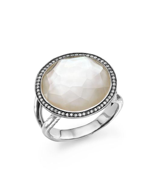 Ippolita - Metallic Sterling Silver Stella Lollipop Ring In Mother-of-pearl Doublet With Diamonds - Lyst