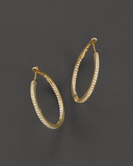 Bloomingdale's - Metallic Diamond Inside-out Hoop Earrings In 14k Yellow Gold, .30 Ct. T.w. - Lyst