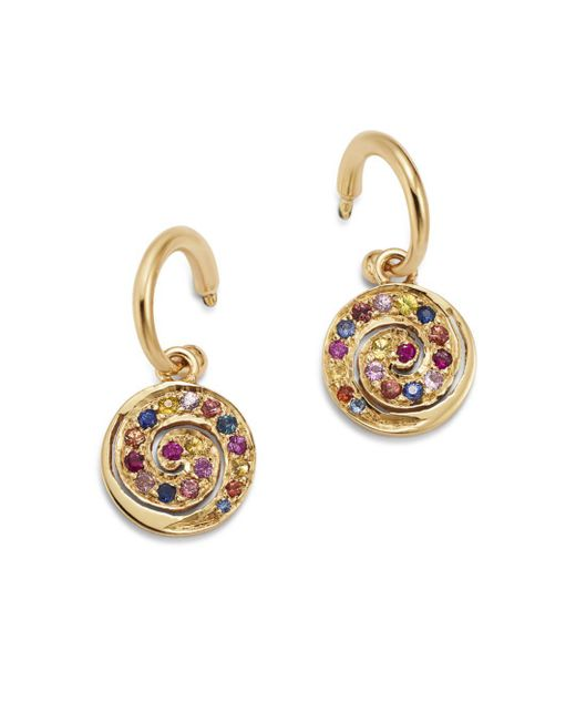 Shebee - Metallic 14k Yellow Gold Multicolor Sapphire Spiral Charm Drop Earrings - Lyst