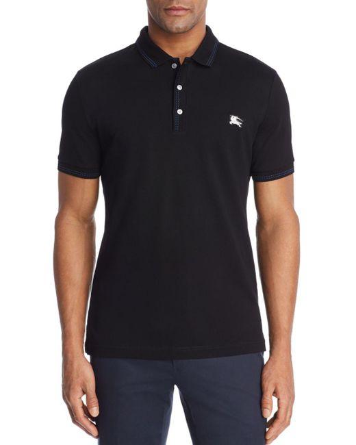 Burberry - Black Kenforth Mercerized Piqué Polo Shirt for Men - Lyst