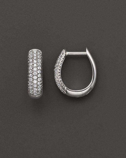 Bloomingdale's - Metallic Diamond Pavé Hoop Earrings In 14 Kt. White Gold - Lyst