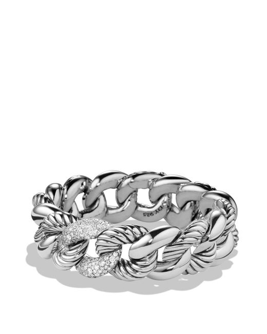David Yurman | Metallic Belmont Bracelet With Diamonds | Lyst