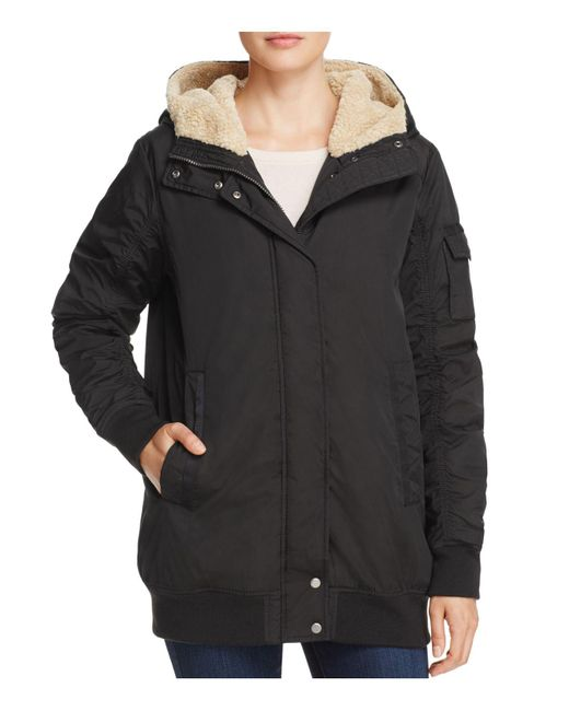 Marc New York | Black Nina Faux Fur Trim Puffer Bomber Jacket | Lyst