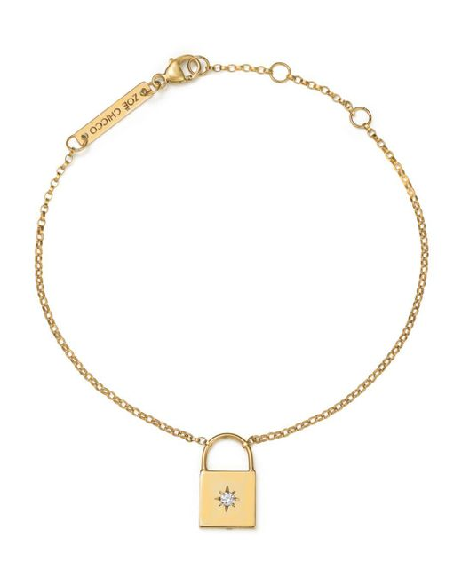 Zoe Chicco - Metallic 14k Yellow Gold Padlock Charm Bracelet With Diamond - Lyst