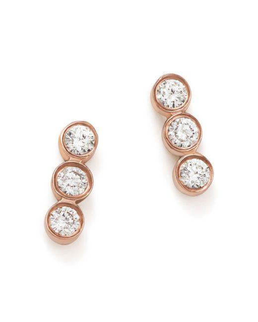 Zoe Chicco - White 14k Rose Gold Triple Diamond Bezel Stud Earrings - Lyst