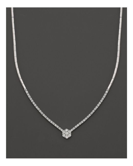 Bloomingdale's - Metallic Diamond Cluster Necklace In 14k White Gold, 1.10 Ct. T.w. - Lyst
