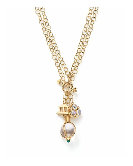 Temple St. Clair - Metallic Diamond And Emerald Three Charm Pendant Necklace - Lyst